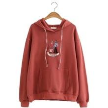 Cartoon Embroidery Women Hoodies Sweatshirts