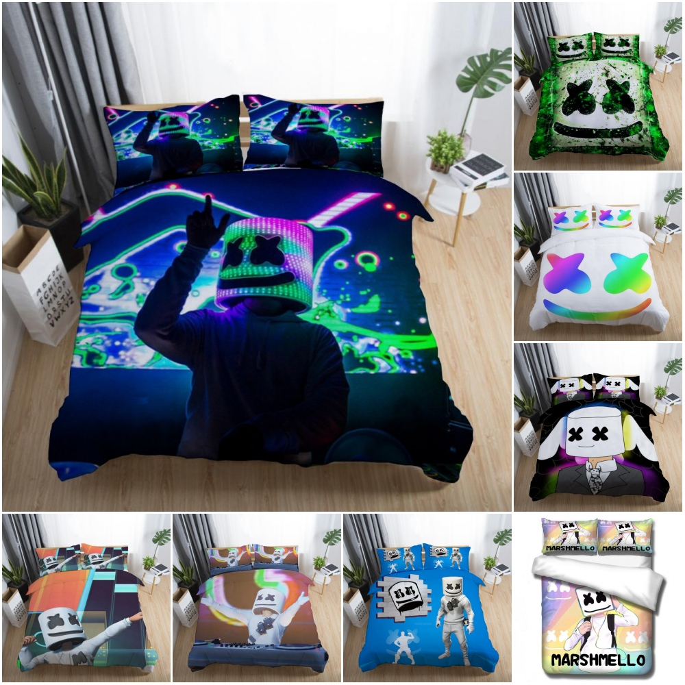 Movie: Cartoon Green DJ Marshmello Pattern Bedding Set Baby Kids Boys Girls Bedroom Decoration Quilt Duvet Covers Pillowcase