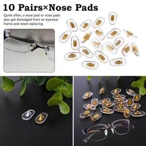 ]10 Pair Hot New 10 Pairs/Lot Golden PVC Glasses Anti Slip Aluminum Conductor Silver Nose Pads