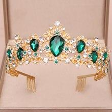 Новинка свадебная корона зеленый синий красный кристалл тиара