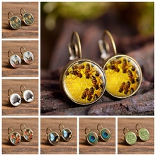 2019 Fashion Bee Dragonfly Pattern Glass Cabochon Stud Earrings Gifts for Women Girls Retro Handmade