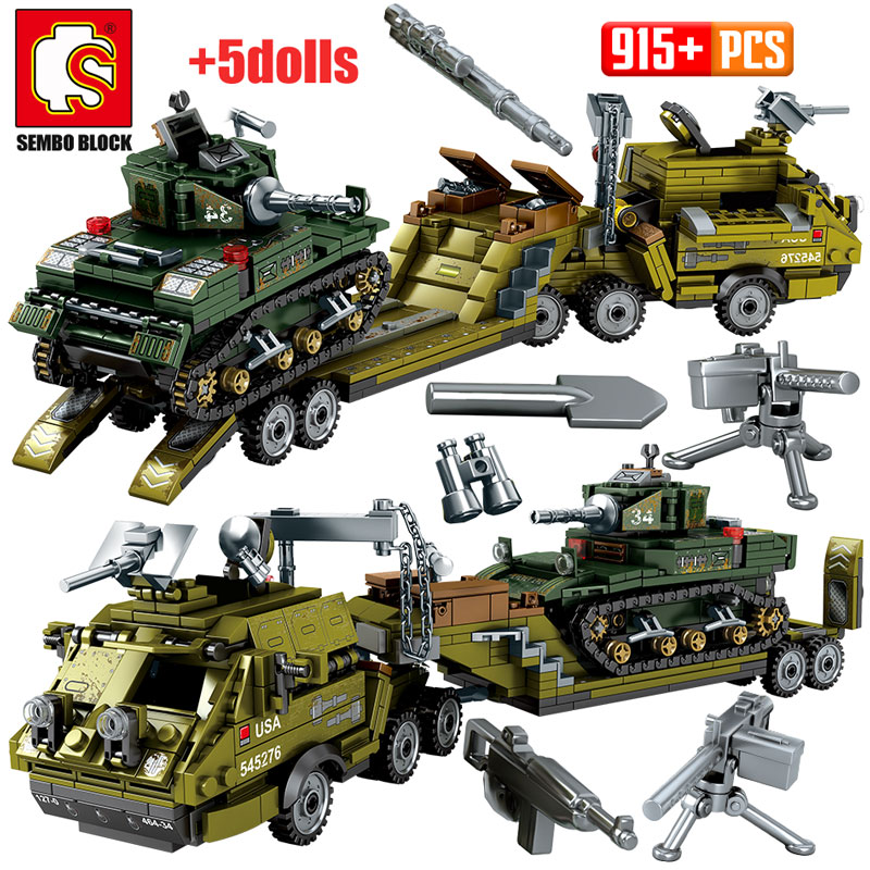 SEMBO 915pcs WW2 Landing Ship Trailer Building Blocks Military Tank City Police Truck Soldier Figures Bricks Toys For Boy