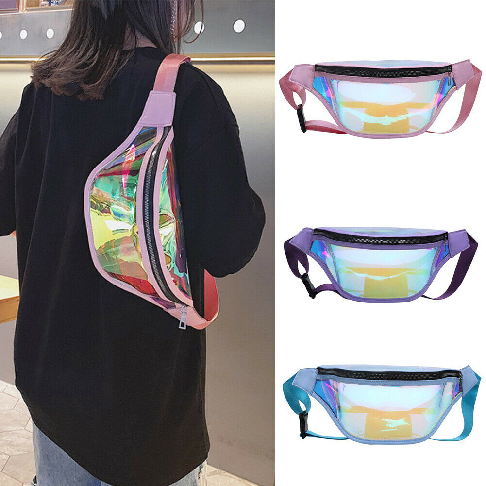 Women Girl Travel Waist Bag Fashion PVC Laser Transparent Bags Money Belt Wallet