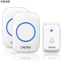CACAZI Waterproof Wireless Doorbell LED Light Battery 300M Remote Home Cordless Bell EU Plug 58 Chime 1 Button 1 2 Receiver все цены