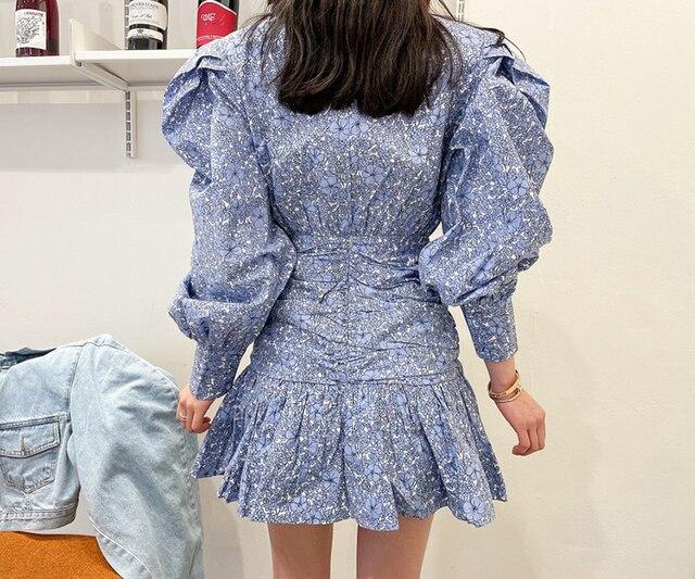 Retro Fashion Flower Print Women Casual O-Neck Puff Long Sleeve Dress 2021 Summer Casual Ruffles Beach Short Dress 2