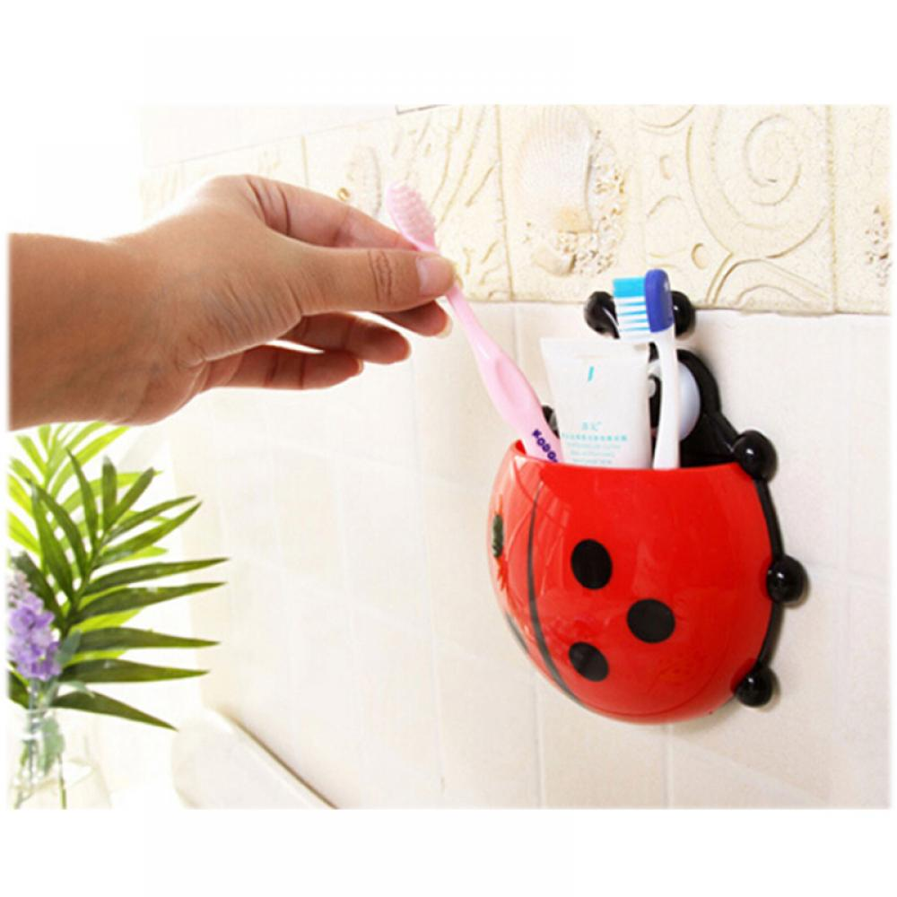 2020 Hot sale new creative Simple Fashion Cute Ladybird Novelty Toothbrush Holder Suction Cup Toothpaste Holder Big Ladybird image