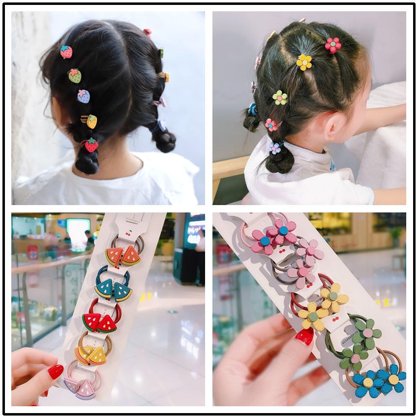 2020 New Cute Flower Fruit Cartoon Scrunchie Children Girls Kids Elastic Hair Rubber Bands Headwear Tie Hair Rope Accessories