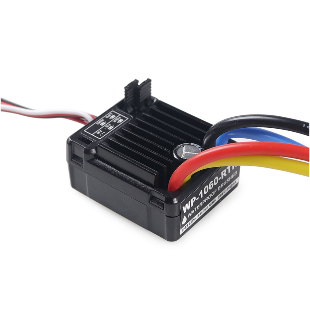 1060 2 3S 60A Waterproof Brushed ESC with BEC 5V 2A for 1 10 RC Tamiya Traxxas Redcat HPI RC Car Parts Accessories in Parts Accessories from Toys Hobbies
