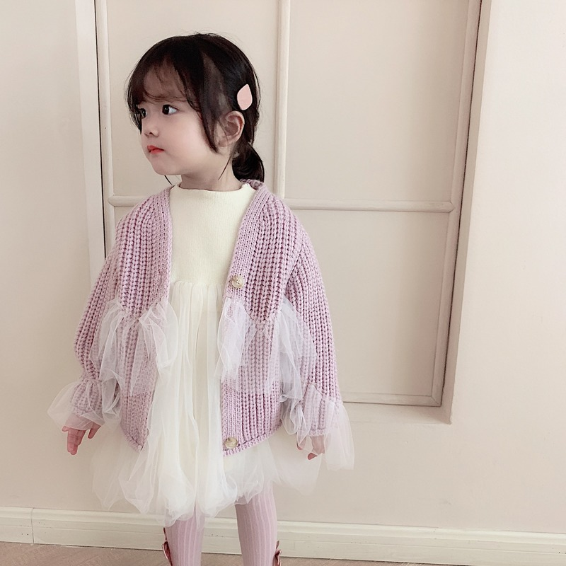 baby girls cardigan 2019 silk edge new style sweaters pure and simple knitted kids casual 1-6T