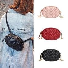 Waist Bag Ladies 2019 Fashion New Pu Wave Pattern Rhombic Chain Bag Simple Shoulder Messenger Bag Ladies Pockets Men Bag doughnut pattern round pu chain bag