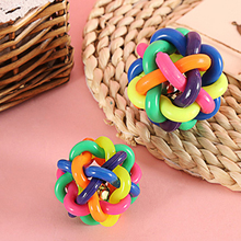 New Colorful Dog Chewing Ball Weaving Pet Throwing Toy Pet Interactive Colorful Bell Rubber Ball Chewing Cat Toy Rubber Dog Toy