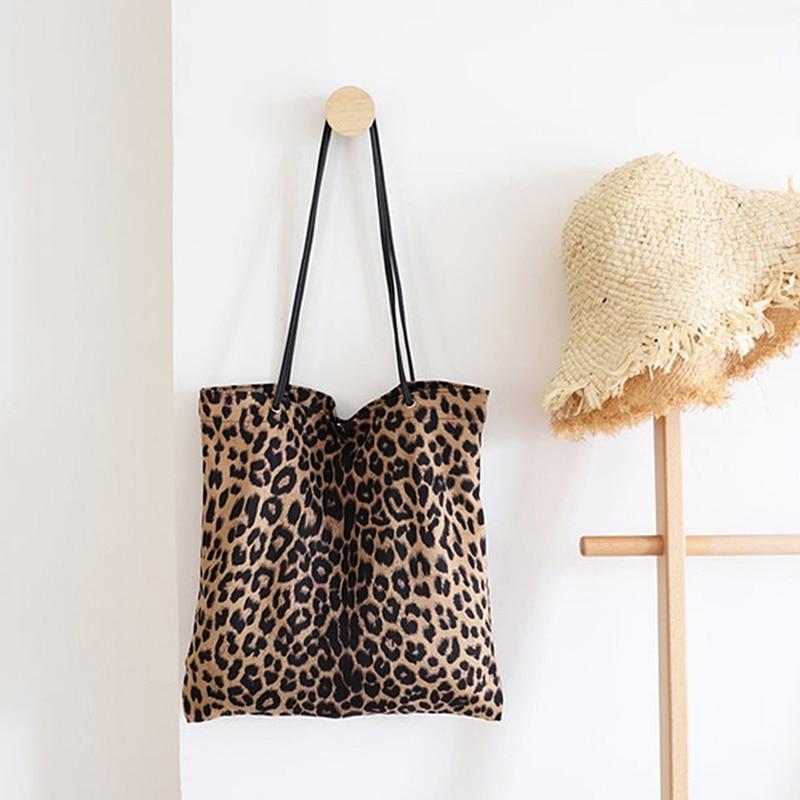 Leopard Print Shoulder Tote Bag Vintage Fashion Simple Canvas Shoulder Bags Handbags Large Storage Handbag Hand Bag For Women