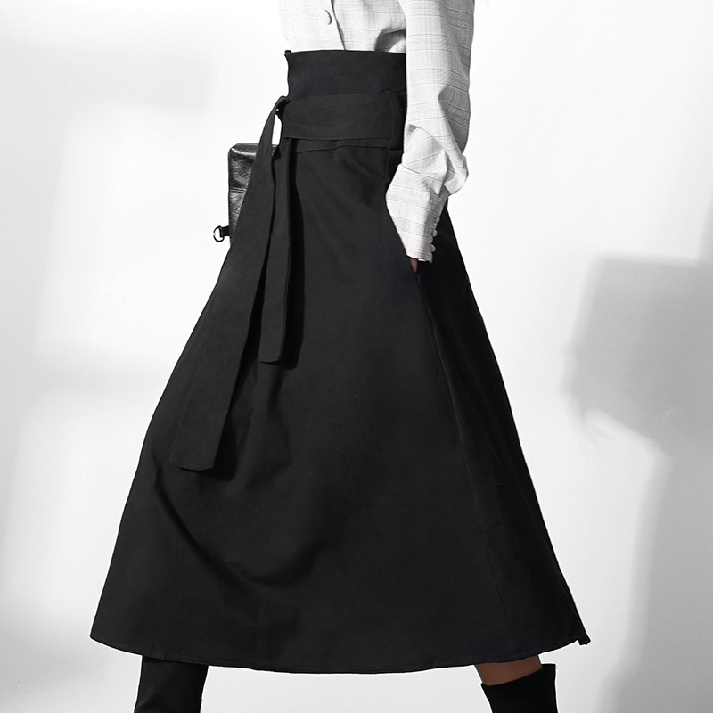LANMREM Can Ship 2020 Spring New Woman's Clothes Trendy Temperament A-line Skirt High Waist Design Black Half-body Skirt YJ082