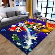 Мультяшный игровой ковер Super Mario, детские игровые коврики, коврики для гостиной, спальни, декоративный ковер, детские коврики для игровой зон...