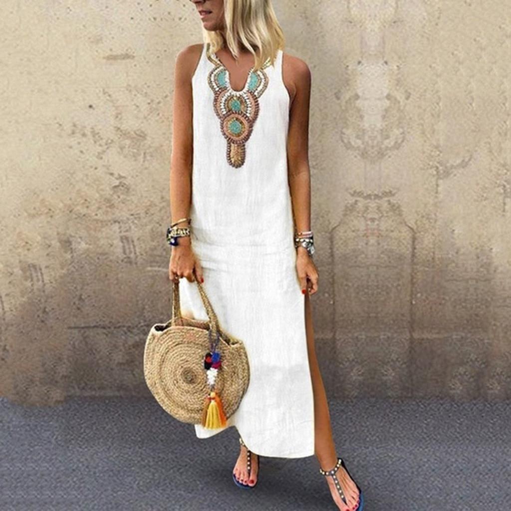 2020 boho feminino branco vintage dividir branco mais verão férias festa longo maxi vestido sem mangas vestido de verão kaftan S-5xl # j30