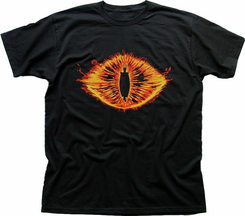 Eye of Sauron t-shirt lord of the ring tee LOTR print bright colorful flame