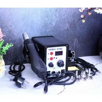 цена на YIHUA 878D Hot Air Gun Soldering Station With 907A Soldering Iron Station Mini SMD soldering rework station air welding machine