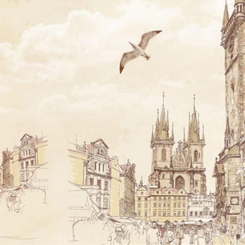 2020 New Nostalgic Hand-Painted European and American Sketch City Street Scene Seagull TV Background Decoration papier peint