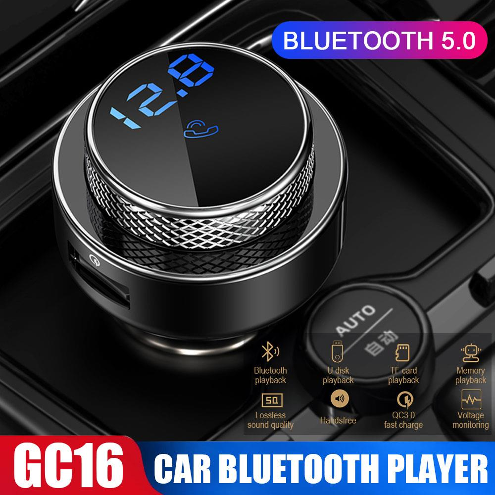 GC16 BT5.0 Car FM Transmitter Digital Display Detection Voltage Dual USB Interface Car Charger Car MP3 Player QC3.0 Quick Charge