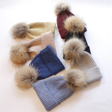 Детская шапка из натурального меха, детская зимняя шапка с помпонами, детская шляпа из шерсти, детская шапка для мальчиков и девочек, теплая шапка для малышей