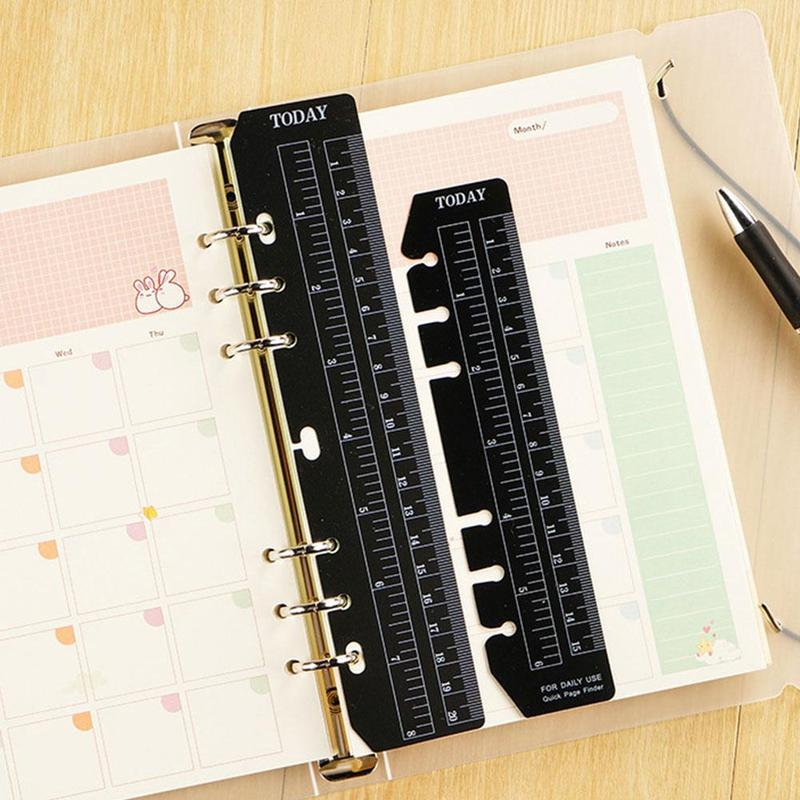 1pc Notebook Index Page Pvc Loose-leaf Separator Page Ruler 6holes Different A5/a6/a7 Size Multi-function Bookmark W7U8