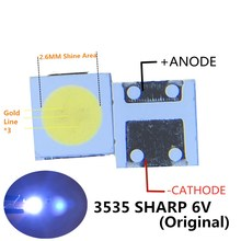 SHARP светодиодный подсветка ЖК дисплей ТВ 3535 3537 светодиодный светодиодная лампочка поверхностного монтажа бисера 1,8 W 6V 3535 холодный белый 2000 шт