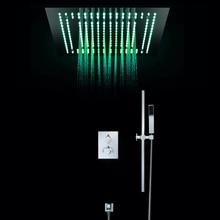 Luxury European LED Light Rainfall Showerheads Shower Set Thermostatic  SUS304 Bathroom Ceiling Showers Remote Control