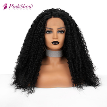 Pinkshow Black Lace Front Wig For Black Women Curly Synthetic Lace Front Wig Heat Resistant Fiber Natural Synthetic Wig fluffy curly heat resistant synthetic long lace front wig