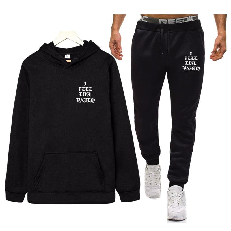 I Feel Like Paul Pablo Kanye Sportswear Sets 2020 Autumn Hooded Thick Casual Tracksuit Men 2 Piece Sweatshirt + Sweatpants Set