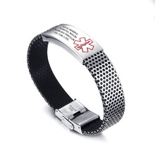 Personalized Engraving Medical Alert ID Bracelet Bangle For Men Diabetes Stainless Steel Silicone Wristband Emergency Jewelr