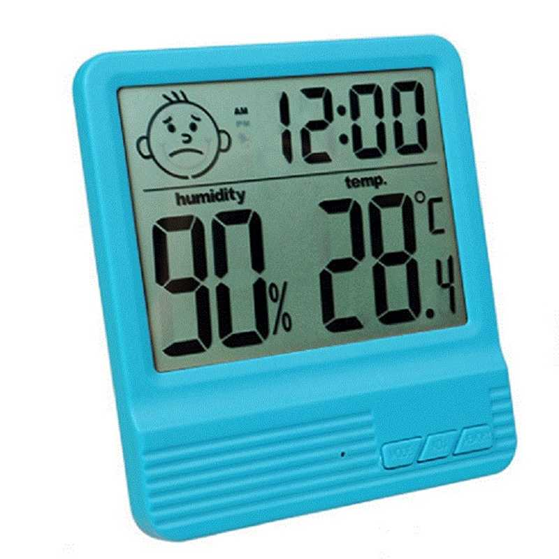 LCD Digital Temperature Humidity Meter -2 -1 Indoor Outdoor hygrometer thermometer Weather Station with Clock