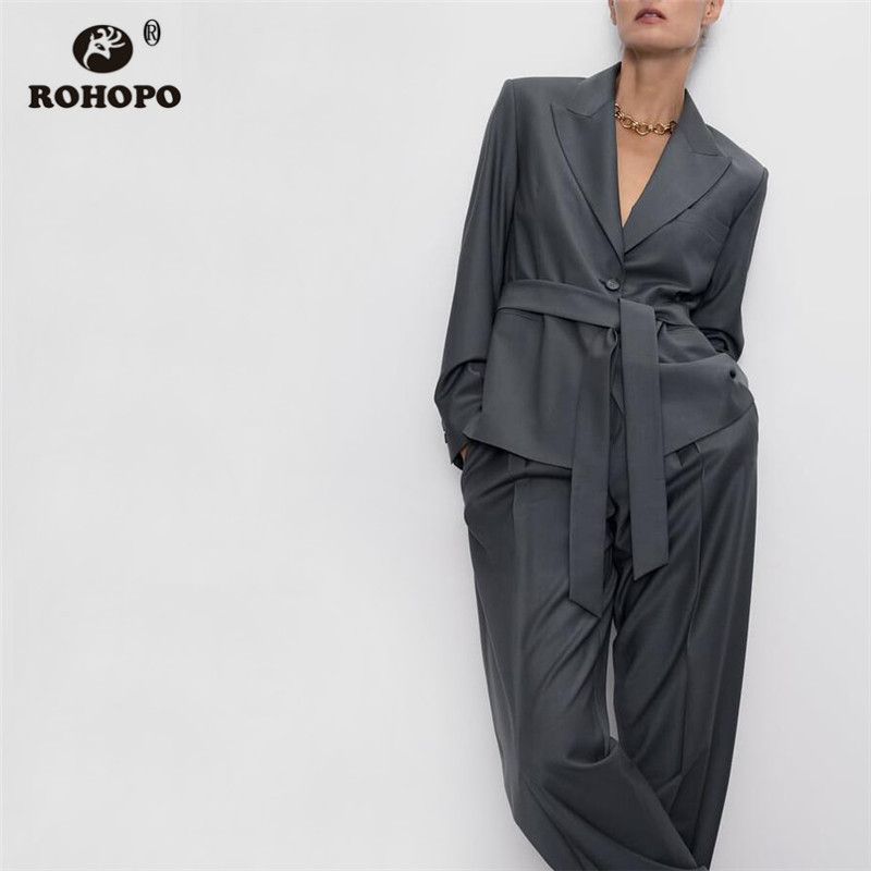 ROHOPO Double Buttons Solid Bow Waistband Blazer Notched Collar Side Welted Pockets Autumn Ladies Tops Outwear #6223