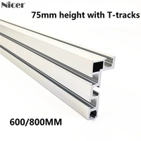 600/800MM 75 Type T Track T Slot Miter Track Stop Woodworking T tracks Aluminum Table Saw Fence Workbench DIY Woodworking Tools|Woodworking Machinery Parts| |  -