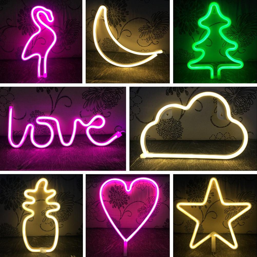 Крутой креативный неоновый ночсветильник в форме фламинго, сердца, ананаса, декор для свадебной вечеринки
