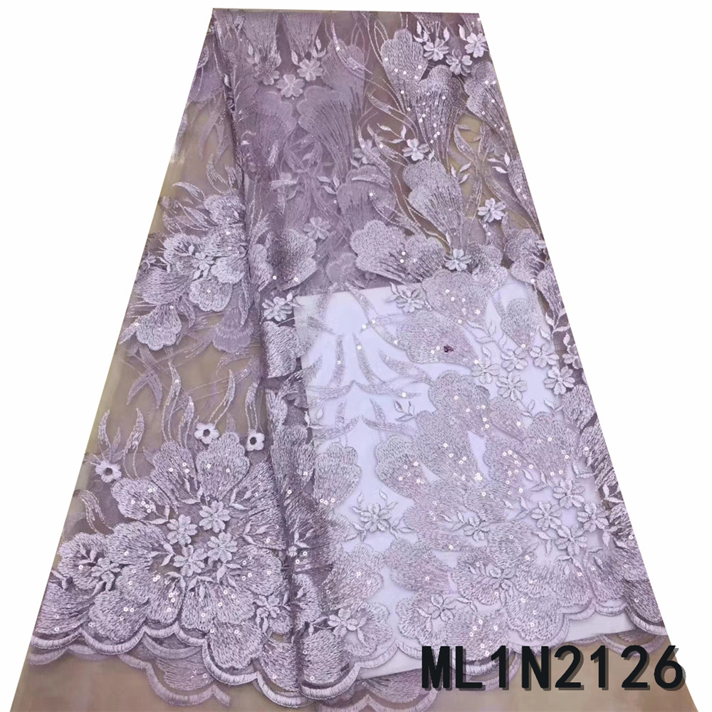 BEAUTIFICAL embroidery african lace for nigerian wedding 5 yards mesh tulle lace french ML1N2126