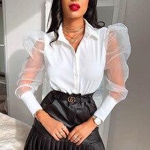 Sexy White Blouse Women Vintage Patchwork Puff Long Sleeve Elegant Ladies