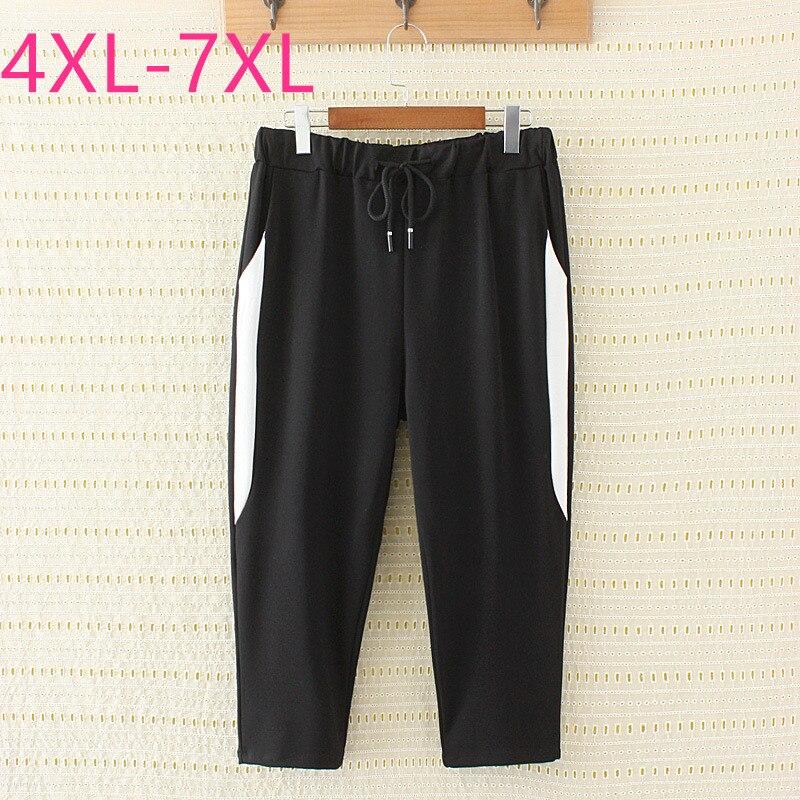 2020 new summer plus size capri pants for women large tight casual elastic stripe short sports pants black belt 4XL 5XL 6XL 7XL