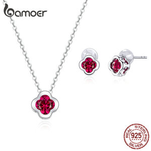 bamoer 925 Sterling Silver Red Cubic Zirconia Clover Stud Earrings and Necklace Jewelry Sets for Women Wedding Jewelry ZHS179(China)