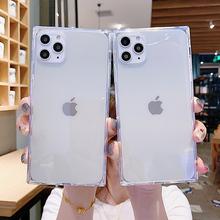 Fashion Square przezroczysty futerał na telefon iPhone 11 12 Pro Max Mini X XR XS 7 8 Plus SE 2 przezroczysty miękki silikon odporny na wstrząsy tanie tanio njieer CN (pochodzenie) Aneks Skrzynki Square Transparent Phone Case Apple iphone ów IPhone 7 IPhone 7 Plus IPHONE 8 PLUS