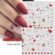 Autocollants pour ongles, ensemble de décalcomanies 3D, dessin animé, amour, coeur rouge, motifs pour manucure, accessoires de décoration, CHF106