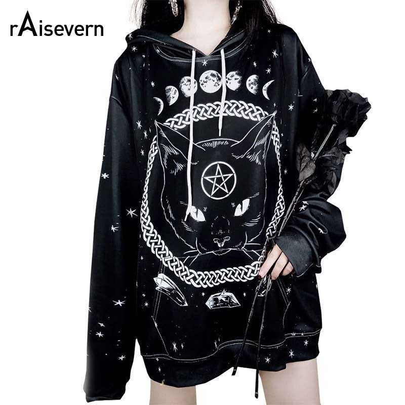 Raisevern Harajuku Punk Hoodie Pentagram Print Black Sweatshirts Gothic Streetwear Pullovers Long Sleeve Hooded Outfits Dropship