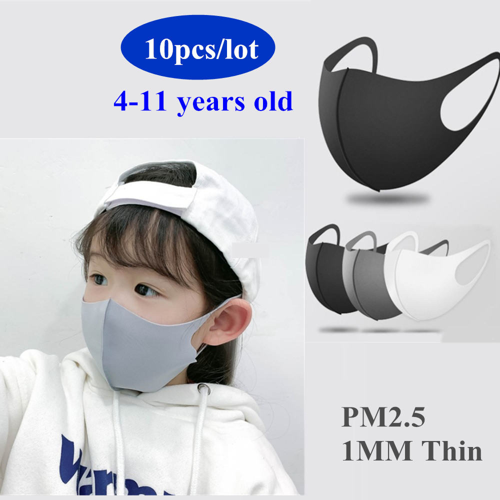 10pcs Kids Children Mouth Mask For 4-11 Years Anti Pollution Mask PM2.5 Air Dust Face Masks Thin Washable Reusable Mouth Cover
