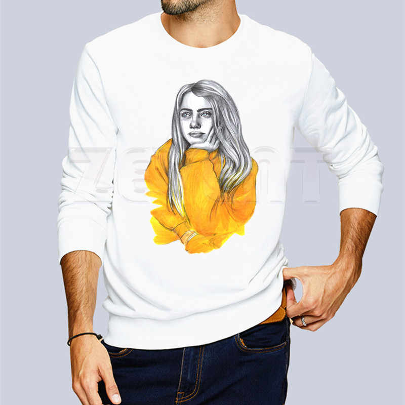 I'm Not Your PARTY Favor-Billie Eilish Casual Hooded เสื้อผ้าสีทึบปกติ Hooded Hoodies Unisex พิมพ์ Hoodies ผู้ชาย