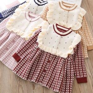 Image 5 - Słodka zima jesień dziewczyny księżniczka dzieci dzieci niemowlęta sukienka z dzianiny Ruffles z długim rękawem dzianiny dzianiny sukienki S9483