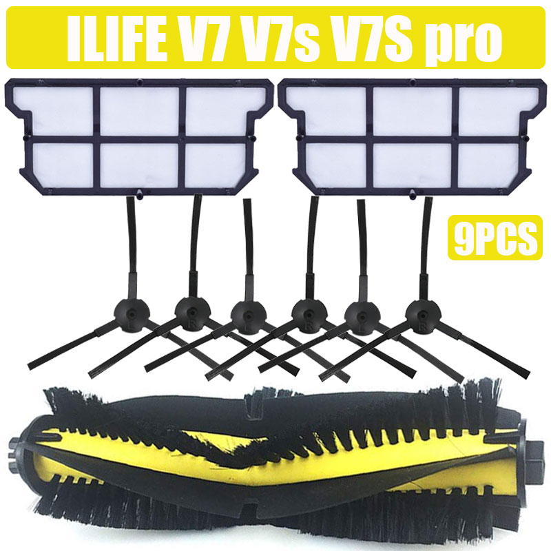 Cepillo principal cepillo lateral hepa filtro a prueba de polvo para ILIFE V7 V7s V7S pro robot repuestos de aspiradora reemplazo