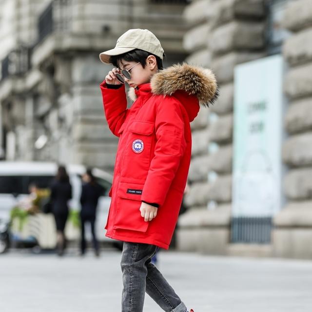 Boys Winter Hooded Fur Collar Warm Long Down Jacket