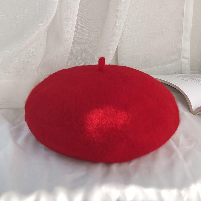 Autumn and winter women's beret casual wool warm hat - Цвет: Красный