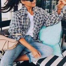 Simplee Elegant women plaid tweed jacket coat Lantern sleeve streetwear female o