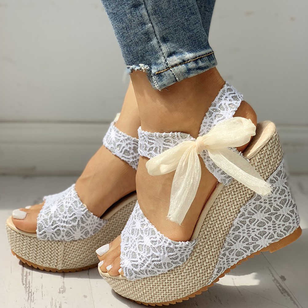 INS hot lace Leisure Women Wedges