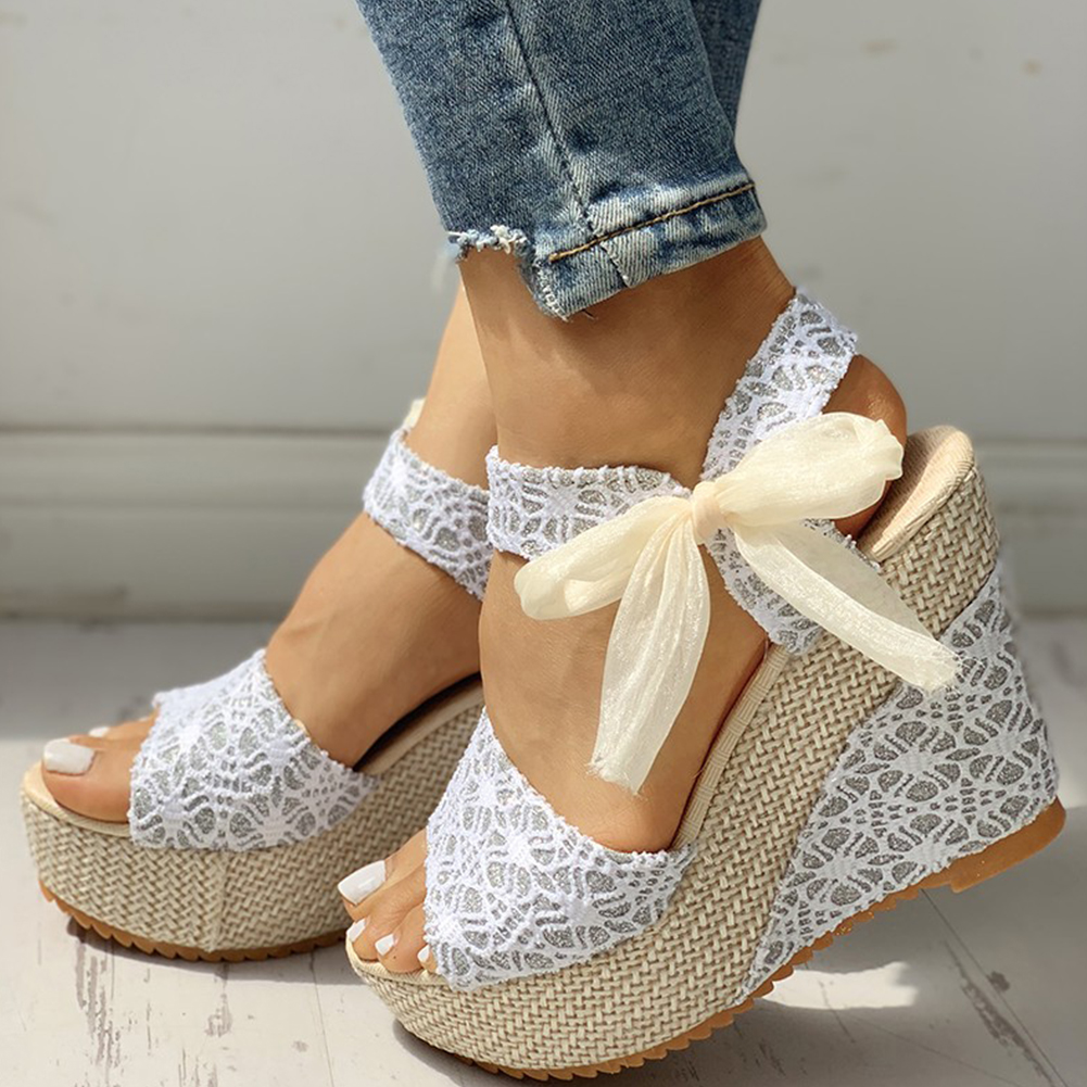 Women Shoes Heeled Platform Summer Sandals Party Wedges INS Hot-Lace Leisure title=